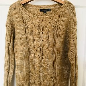 Love Tree Mustard/Brown Cable Knit Sweater NWOT